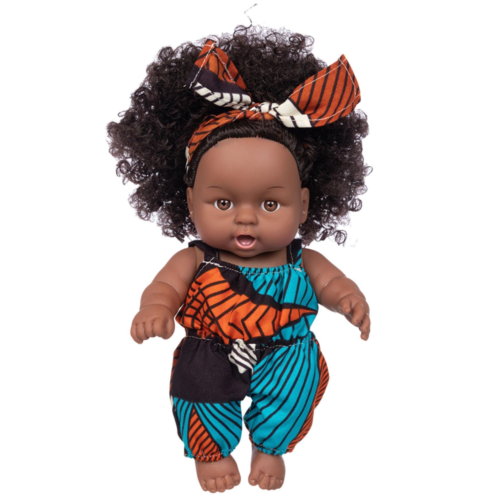 Реалистичная виниловая кукла-Реборн, африканская кукла-Реборн, черная африканская черная Милая кудрявая черная 25 см Виниловая детская игрушка в подарок