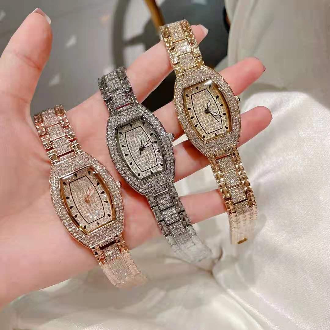 2021 Diamond Ladies Watch Quartz Fashion Top Brand Luxury Women Watches With Rhinestone Crystal Dress Wristwatch For Women
