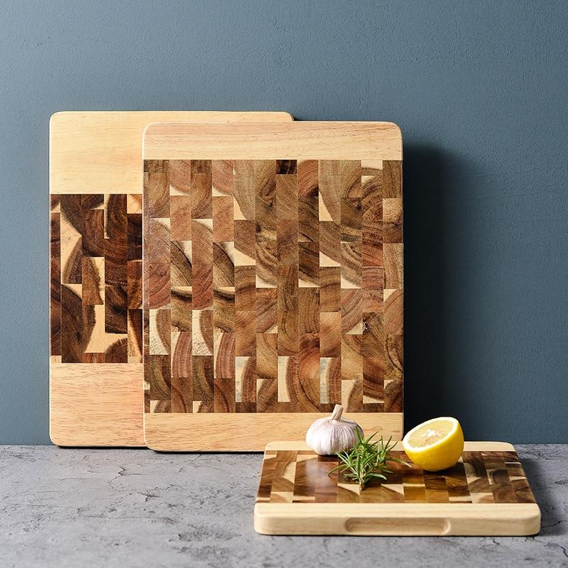 Tabla de corte de cocina de madera de Acacia, tabla de corte de cocina de madera sólida, Rootstock, tabla de cortar fruta sin lacas, bandeja de almacenamiento de comida occidental