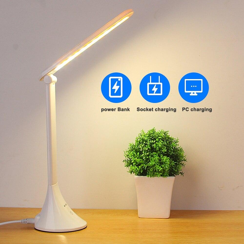 Luz LED de mesa de escritorio que toca 3 niveles regulable USB plegable lámpara de protección de ojos