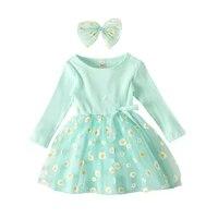 kids dress clothes sweet o neck long sleeves skirt daisy printing hemline bow hairband for little girl 1 6 years