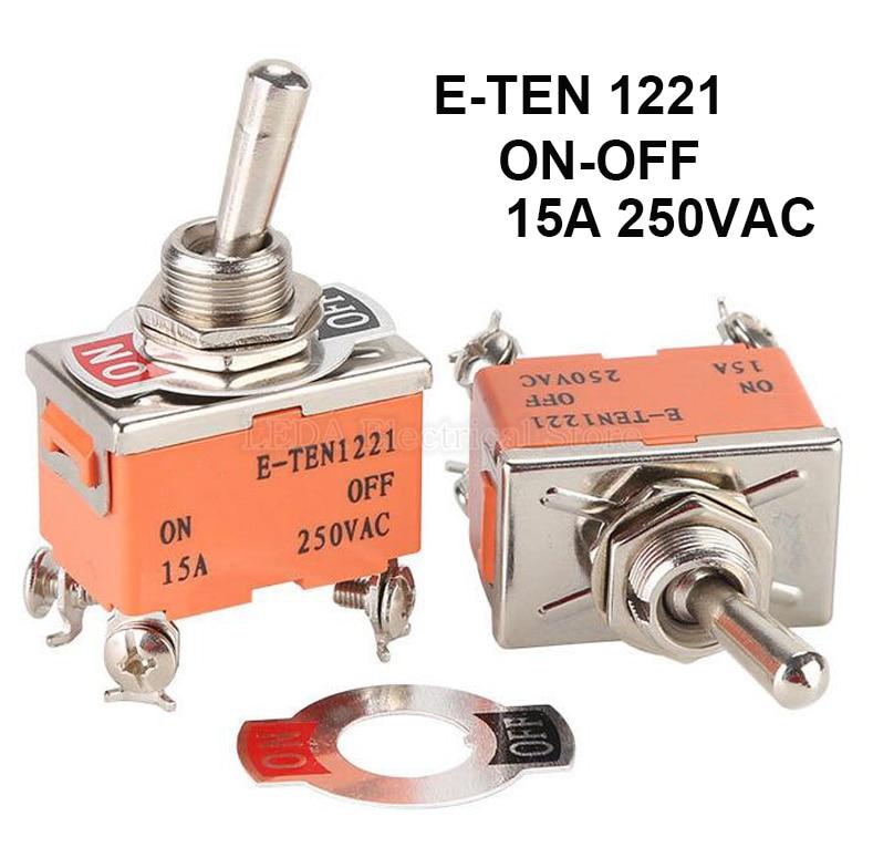 AliExpress - 2Pcs E-TEN1221 4Pin SPST 4 Terminal ON-OFF 15A 250V Toggle Switch Rocker Switch The Power Switch Micro Switch E-TEN 1221 Orange