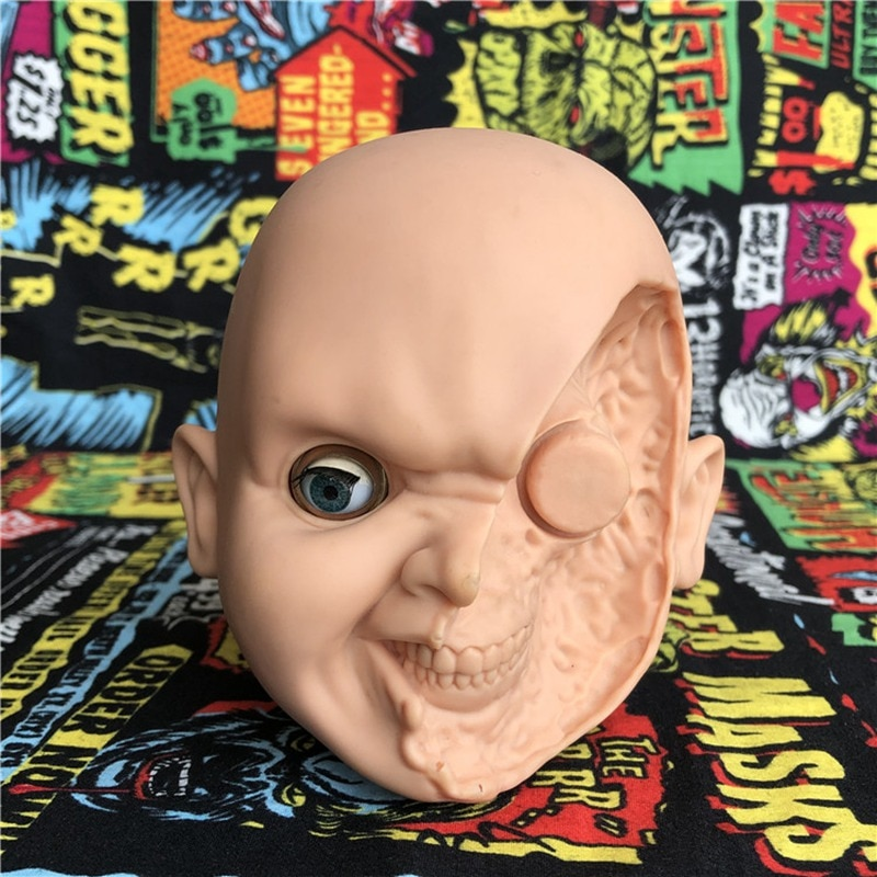 Cabeça de segunda mão esculpir 12cm chucky scarred face horror pvc figura assustador collectible modelo brinquedo quente