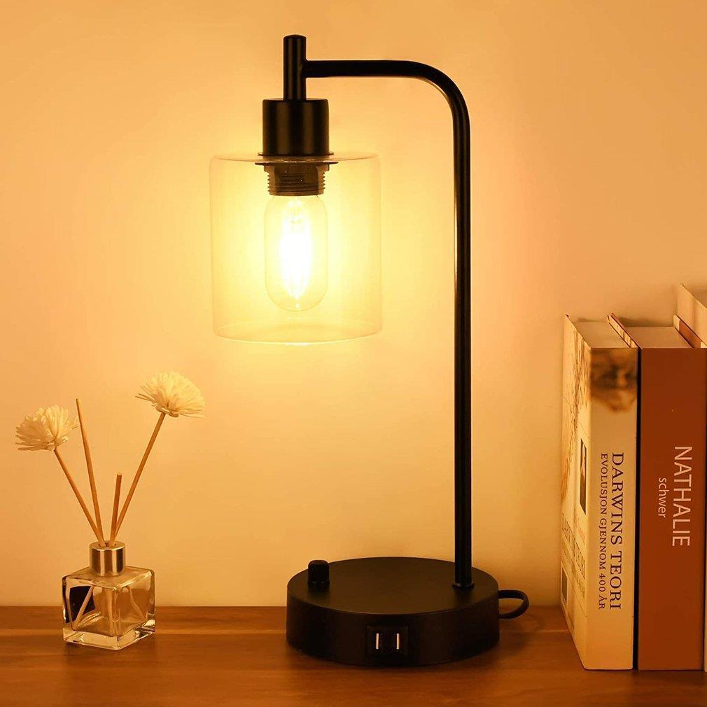 60 واط الصناعية الرجعية التحكم باللمس إضاءة للطاولات مع 2 منافذ USB عكس الضوء السرير منضدة لمبة مكتب لغرفة النوم غرفة المعيشة
