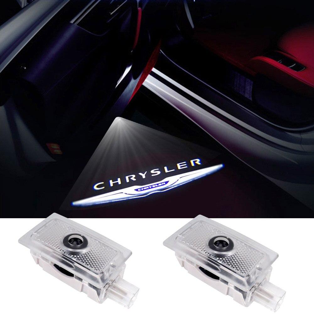 Projetor laser para porta chrysler 2 peças, luz de logotipo, cortesia, bem-vindo, decoração, para lancia mod srt 200 300 acessórios