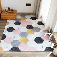 door mat geometric printed color carpet custom silk loop home indoor mats non slip stain resistant entrance mat