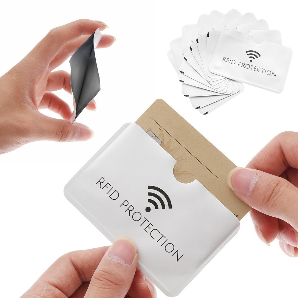 Tarjetero de aluminio para identificación, 10/20 piezas, Anti Rfid, lector de bloqueo de billetera antirrobo, funda de tarjeta bancaria, fundas de tarjetas de crédito