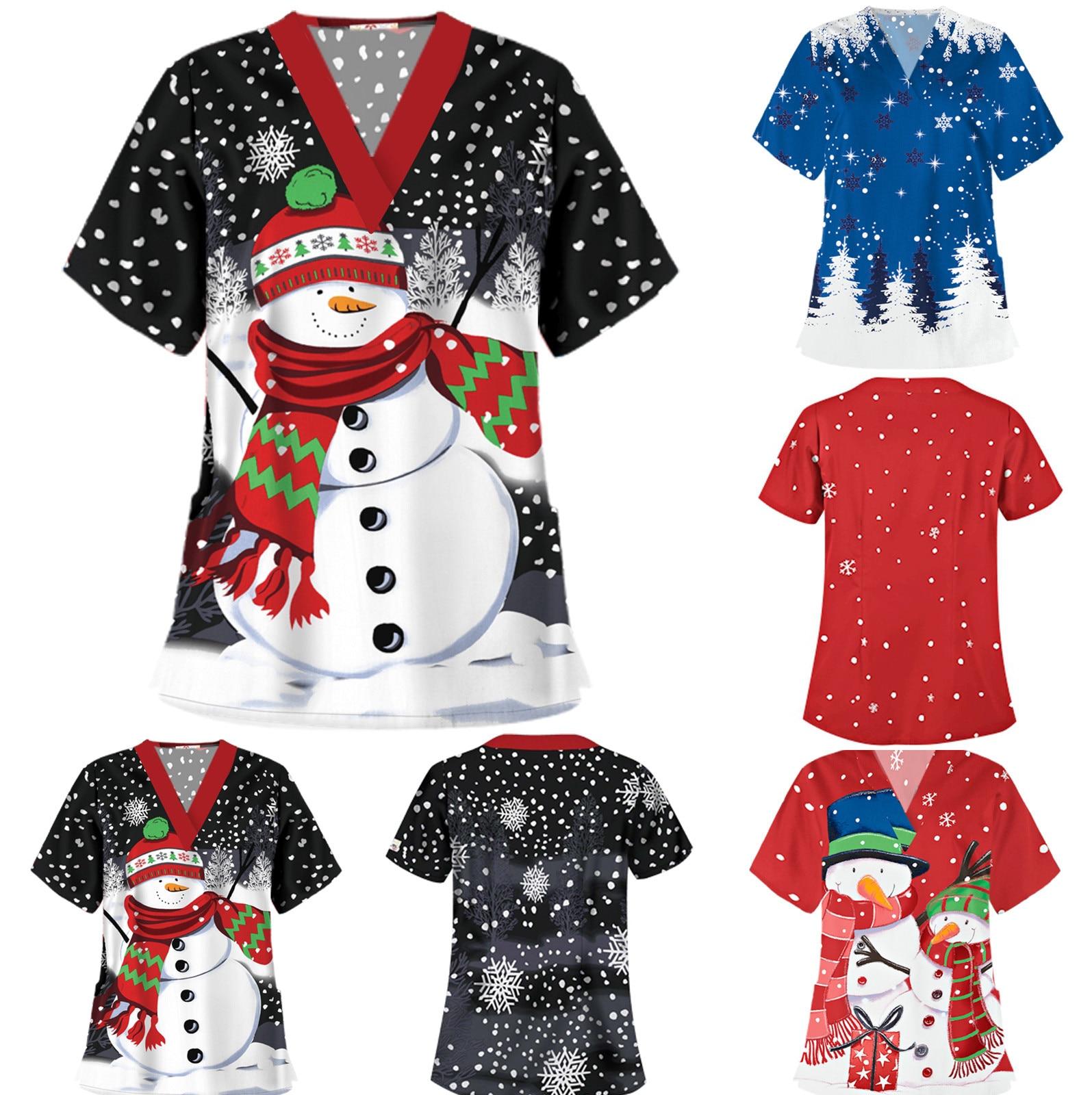 Camiseta de manga corta con cuello en V y estampado de Navidad...