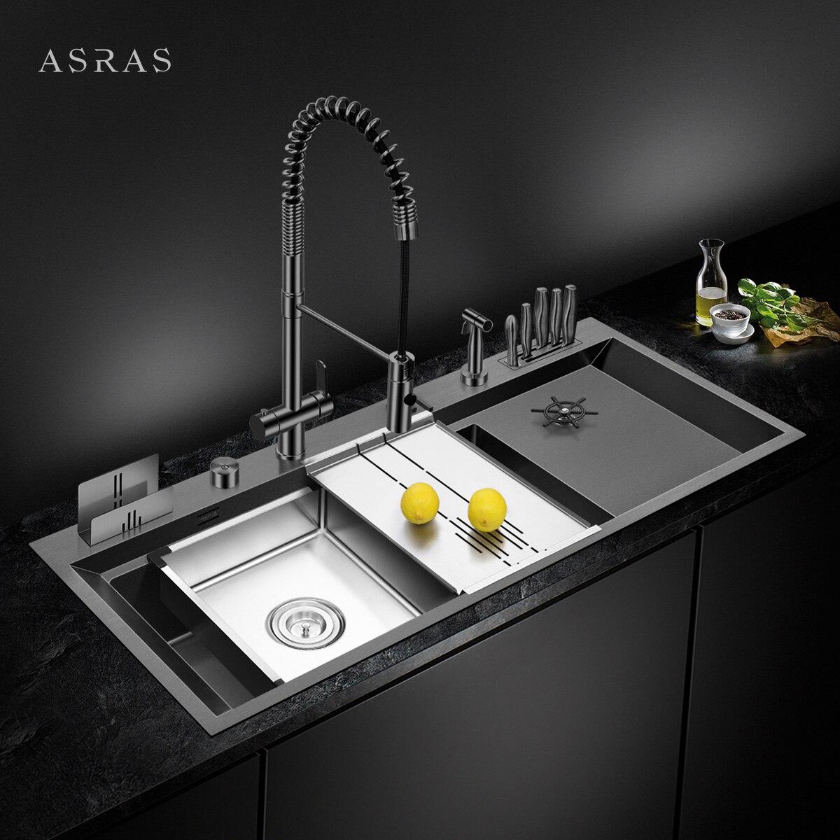 ASRAS كبيرة الحجم نانومتر بالوعة كأس Rinser بالوعة المطبخ 4 مللي متر سمك 220 مللي متر عمق مع استنزاف لوحة حامل سكاكين المصارف اليدوية