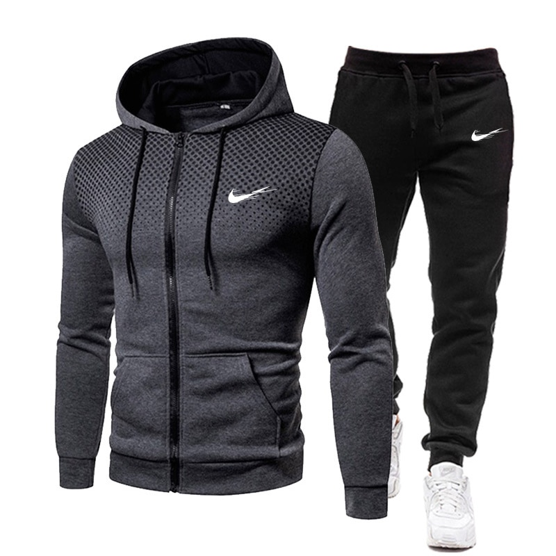 Men's Tracksuit Mesh Spot Hoodie 2021 New Hot Sale Sportswear Spring Clothing Streetwear Hip Hop Two