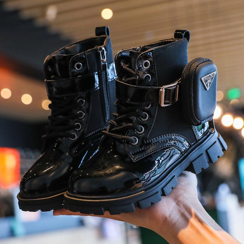 Kids Boots Baby Girls Ankle Boots Children Black Shoes Boys Soft Brand Boots Bag Motorcycle Boots Fa