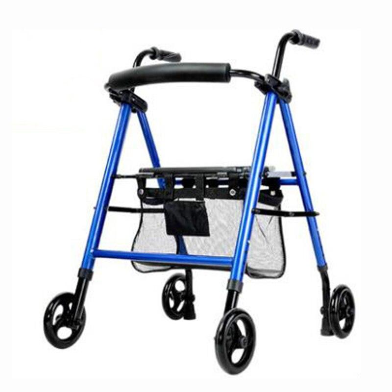 جهاز خط المساعدة ، جهاز للجلوس والدفع والمشي ، قابل للطي ، متعدد الوظائف ، بأربع عجلات لوضع مساعد للمشي