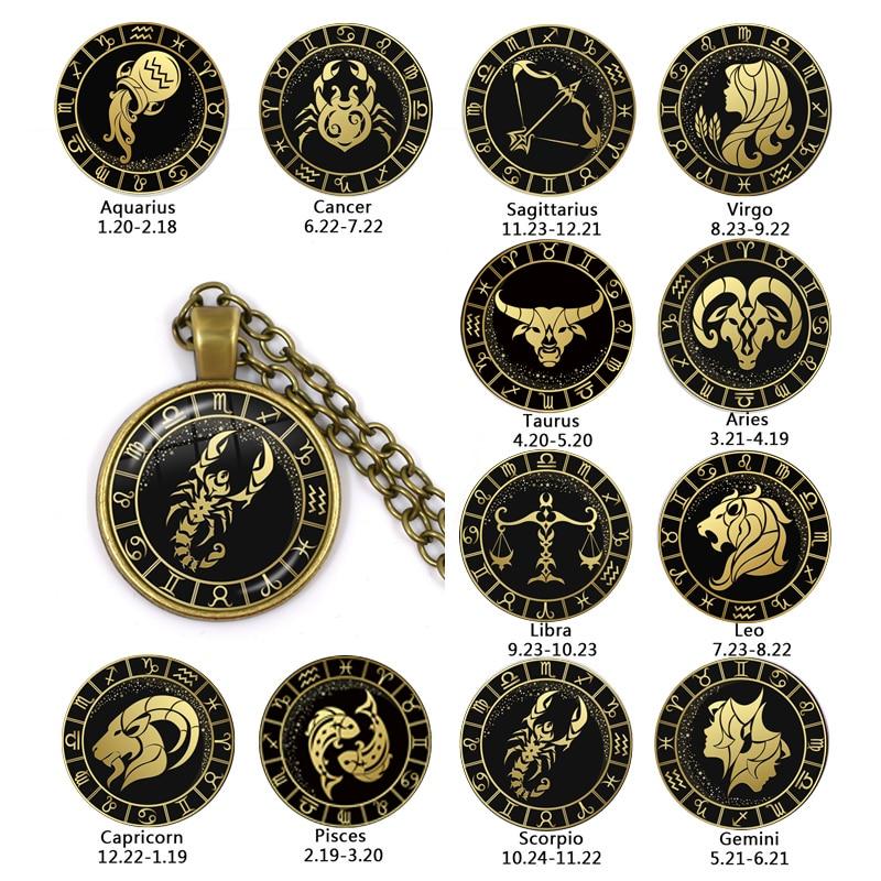 12 Constellation Scorpio Sagittarius Capricorn Aquarius Pendant Antique Bronze Necklace Glass Dome Zodiac Jewelry For Gift angel wight capricorn zodiac isbn 9785448583193
