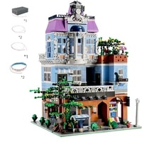 3430 pcs street view house toys model assembly bricks building blocks city coffee shop with led lights kids gifts