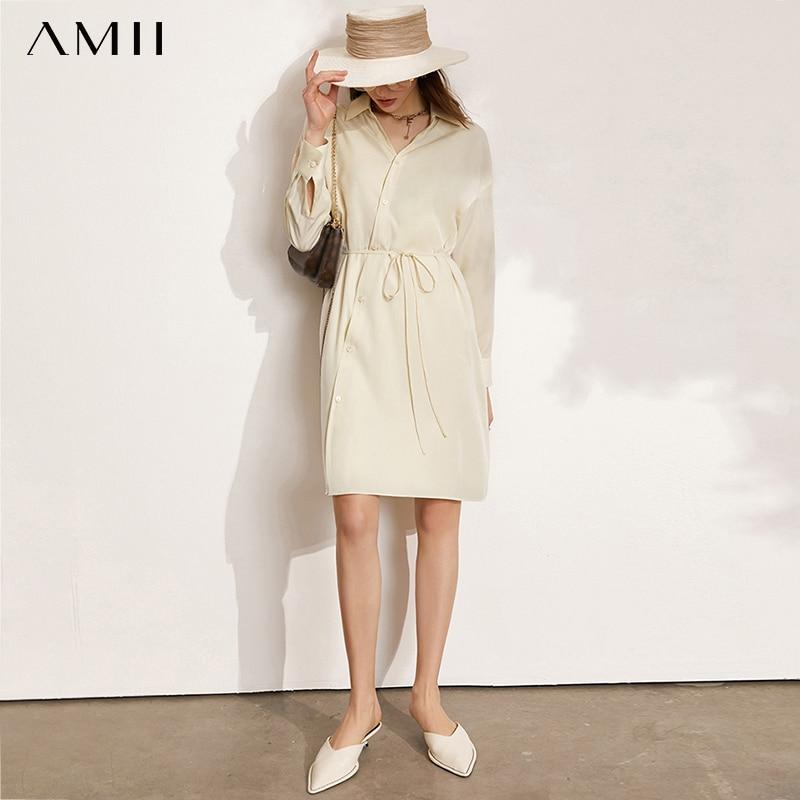 Amii بساطتها النساء قمصان فستان زر على الموضة حتى قميص أنيق مكتب سيدة ضمادة بلوزة مع مجموعة بروتيل الإناث 12140091