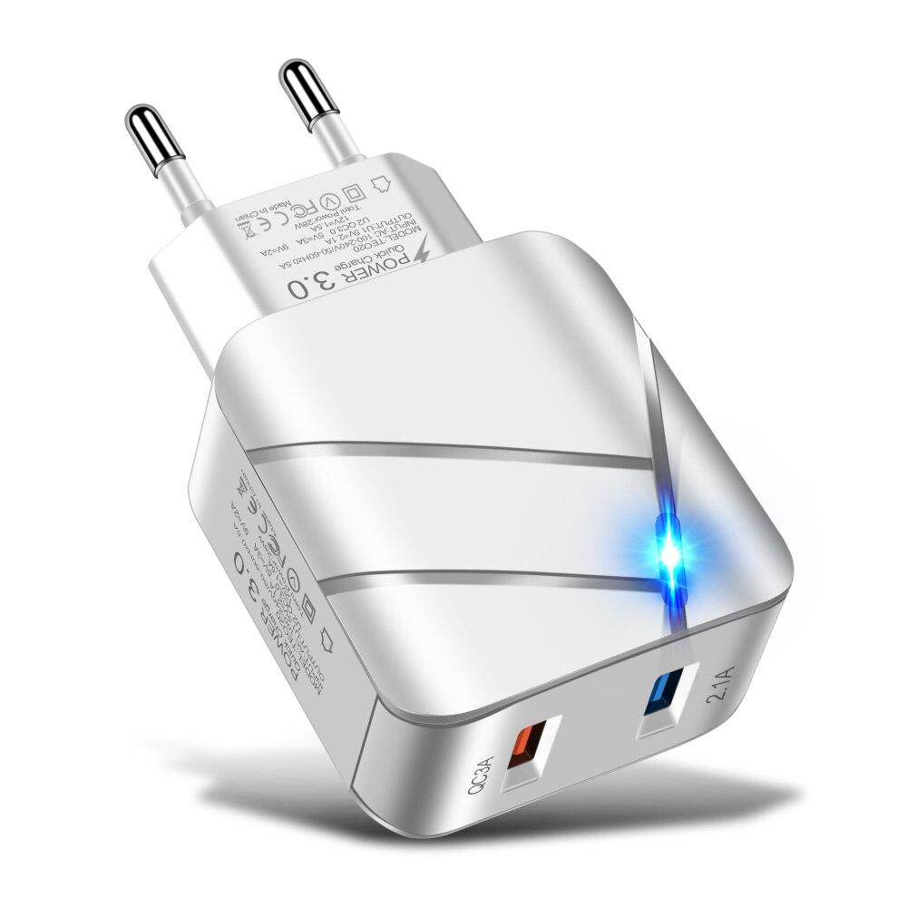 Adattatore per caricabatterie USB QC 3.0 5V 2A 28W, caricatore rapido porta 2USB, adattatore universale da viaggio ricarica rapida adattatore ue illuminato 5V