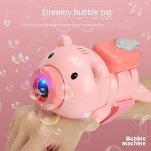 Pistolet à bulles automatique mignon cochon automatique bulle montre savon bulle souffleur avec musique avec lumière intégré anti-pénétration conception