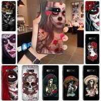 skull tattoo art girl horror phone case for samsung galaxy s5 s6 s7 s8 s9 s10 s10e s20 edge plus lite cover funda shell