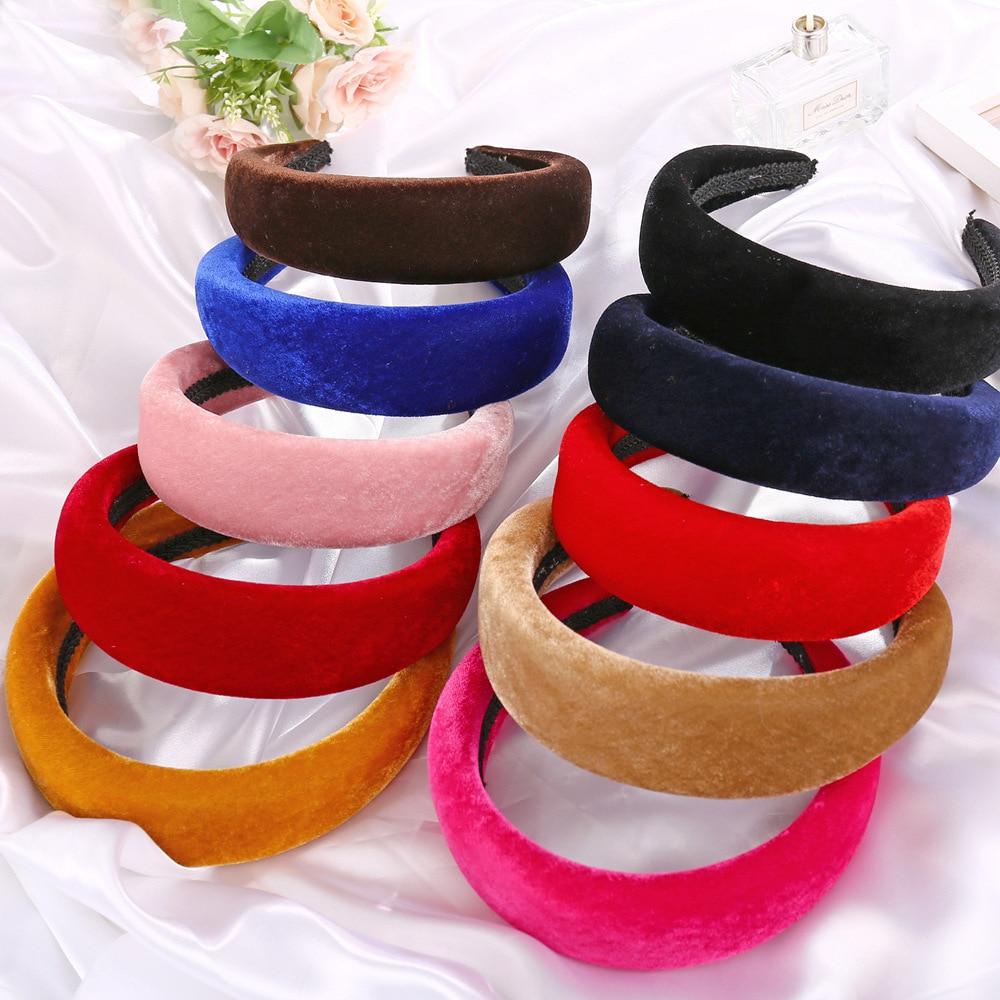 Diademas de esponja de Color sólido Retro para mujer, bandana de tela sencilla para niña, accesorios para el cabello, Lado ancho