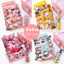 24pcs/Set Baby Hair Clips Cartoon Baby Headband Cute Bow Flower Children Hairpin Barrettes Headwear Baby Hair Accessories NO BOX