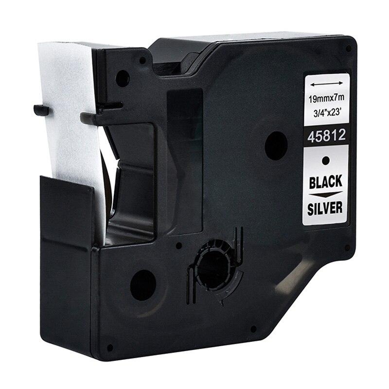 45812 Preto sobre Prata D1 19mm Impressoras de Etiquetas Compatíveis Dymo 3/4 W X 23 L (19mm * 7 m) para Fabricantes de Etiquetas Dymo D1