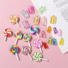 24 pièces/lot coloré sucette bonbon résine ours breloques fabrication de bijoux pour les femmes à la main bricolage porte-clés collier bijoux cadeau