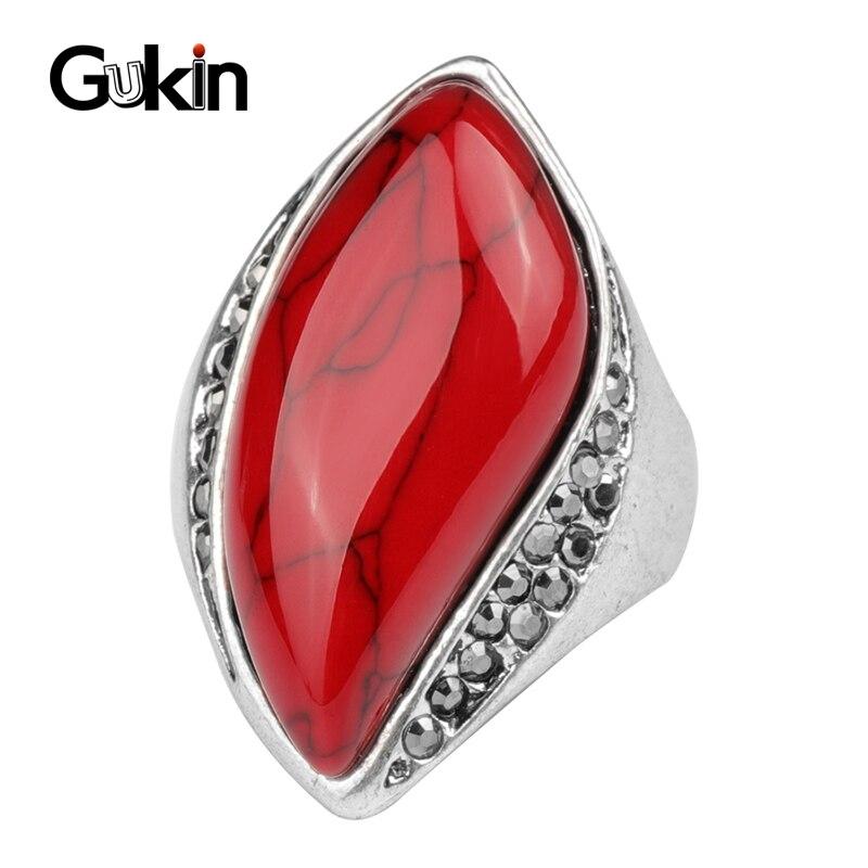 Gukin anéis de pedra natural original do vintage para as mulheres olhar antigo banhado a prata 3 cores anel moda bijouterie atacado