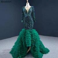 dd jyoy blingbling green mermaid evening dress long sleeve crystal beading v neck long formal elegant evening gown small train