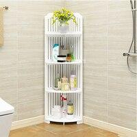 ZWJ-002 Bathroom Storage Side Cabinet No Punching Toilet Floor Type Corner Vanity Cabinet Tissue Storage Rack Triangle Shelf