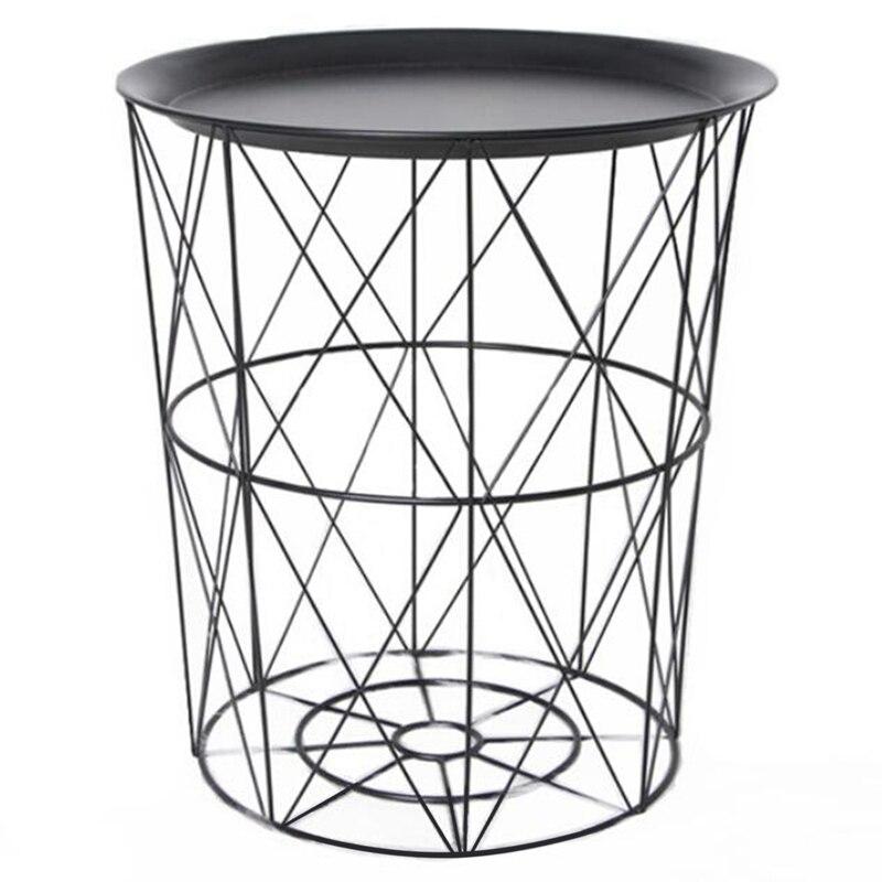 34.5x30.5x23cm ferro metal mesa de centro suja cesta de armazenamento chá lanche servindo placa bandeja preto capa trompete