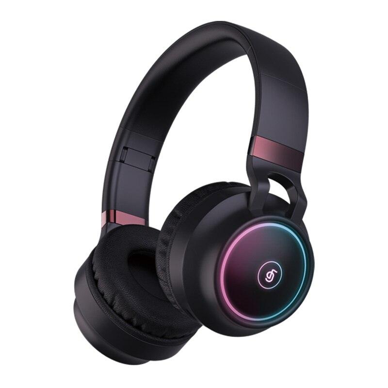 Neue Ankunft Bunte LED Bluetooth 5,0 Kopfhörer Faltbare Drahtlose HiFi Stereo Headset Mit Mic Unterstützung TF Karte 3,5mm Stecker