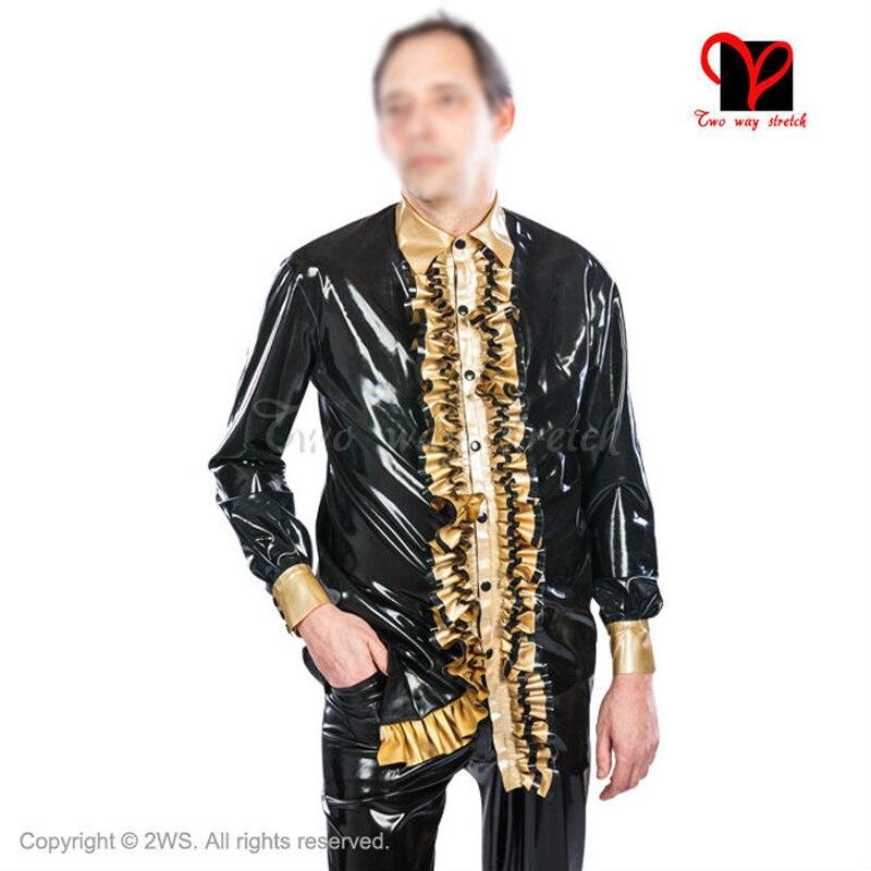 Latex Shirt Long Sleeves Rubber Jacket Gummi Coat Blouse Top Uniform Catsuit Pleated Collar Plus Size XXXL SY-008