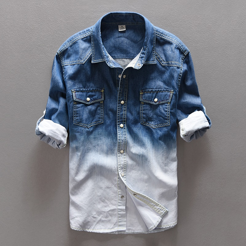 Spring jeans shirt men brand casual denim cotton long shirts mens Autumn gradient male overhemd  chemise