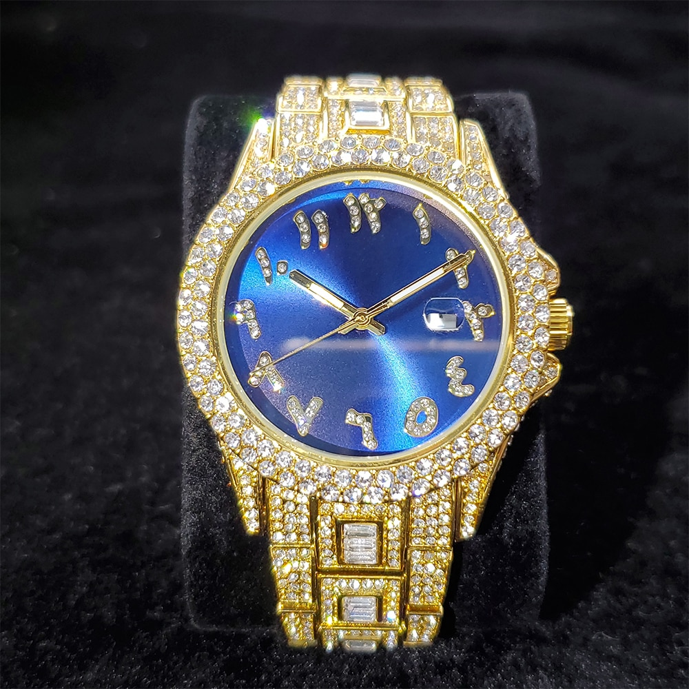 MISSFOX كامل الماس ساعة رجالية فاخرة العربية الرقمية الذهب رجل ساعة كوارتز الأزرق الهاتفي ساعات الفولاذ للرجال Hiphop