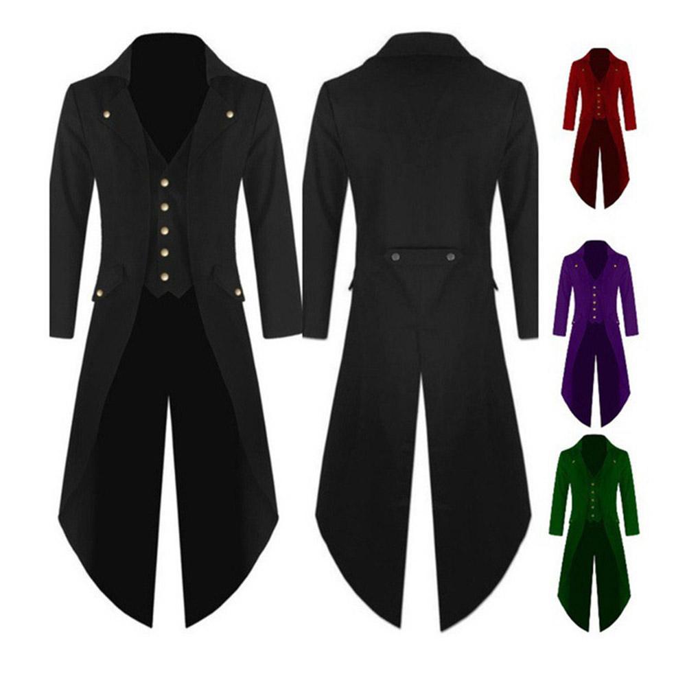 Chaqueta de color liso Retro botón gótico chaqueta Formal Blazer negro rojo verde púrpura chaqueta de esmoquin Party veste costume homme para hombre