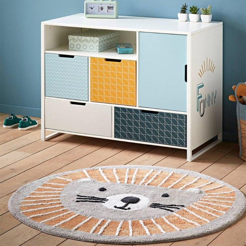 50LE الطفل تلعب حصيرة الزحف السجاد غرفة الاطفال بساط الأرضية مستديرة الكرتون الأسد مطبوعة لوحة ألعاب Playmat الأطفال ديكور غرفة نوم