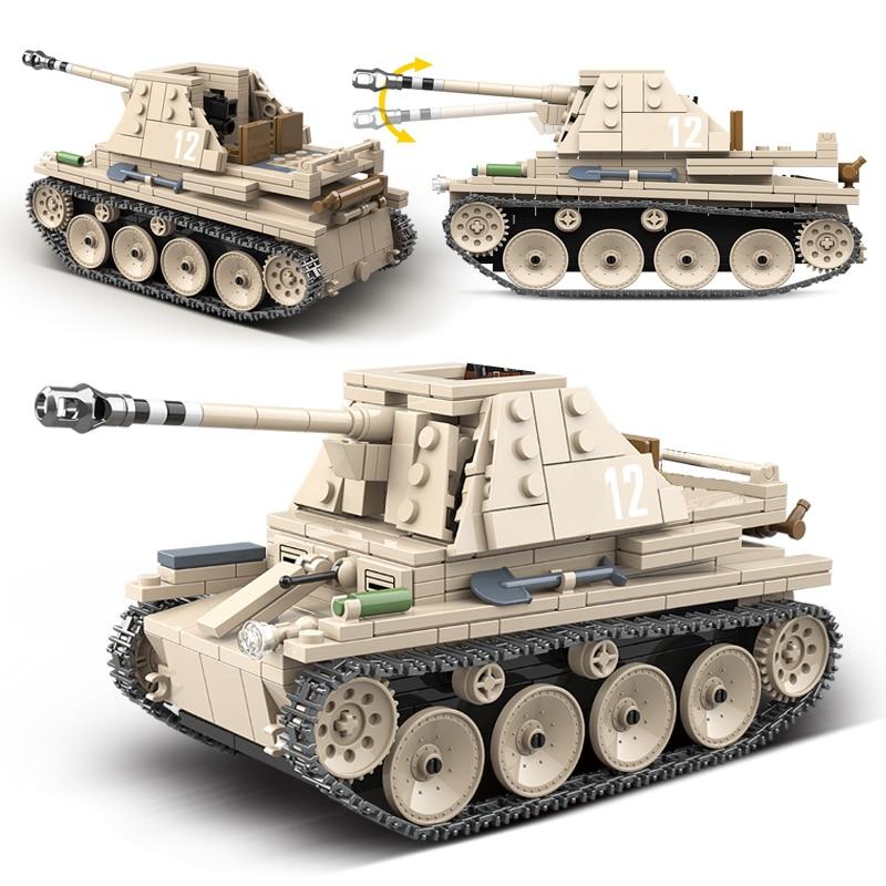 Military Self-anti-tank gun Building Blocks Fit Legoings German Tank Bricks WW2 Army Police Soldier Weapon Toy Gift For Children