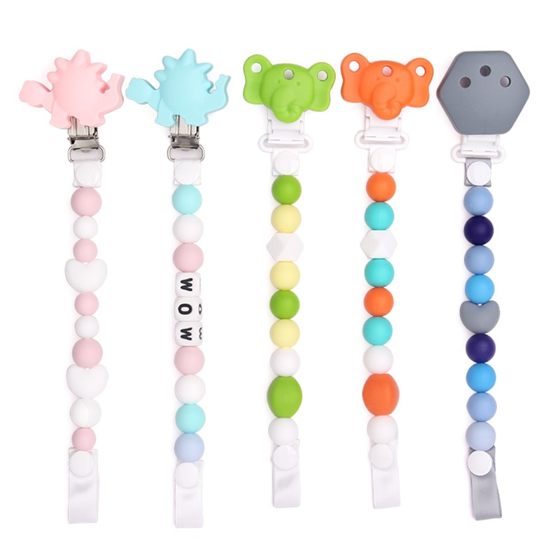 Chenkai 50PCS BPA Free Silicone Butterfly Baby Pacifier Dummy Teether Chain Holder Clips DIY Soother Nursing Toy Accessories enlarge