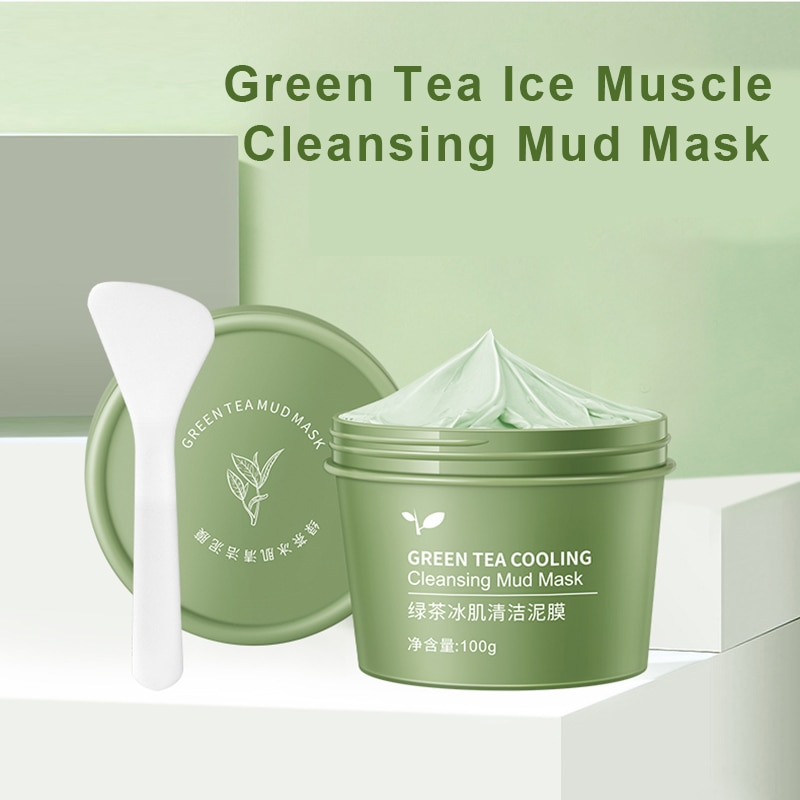 Face Mask 100g Green Tea Ice Muscle Mud Mask Deep Cleansing Remove Blackheads And Shrink Pores Mask Facial Skin Care Products