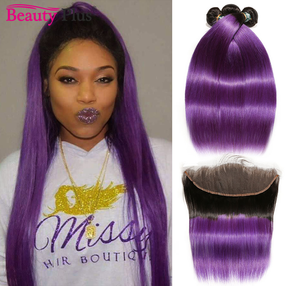 Purple Bundles With Frontal Baby Hair Ombre Brazilian Straight Human Hair Weave Bundles 2/3 Pcs With 13x4 Ear To Ear Frontals