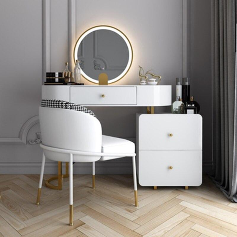 Современный простой туалетный столик для спальни, небольшой семейный скандинавский роскошный стильный туалетный столик, шкафчик для хране...