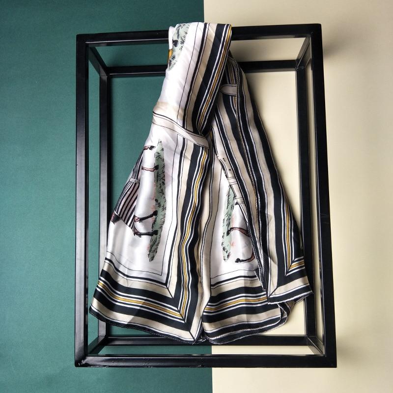 90X90CM Silk Twill Horse pattern Ladies New Small Square Scarf Winter Fashion Snood Satin Scarf Travel Scarf WJ39