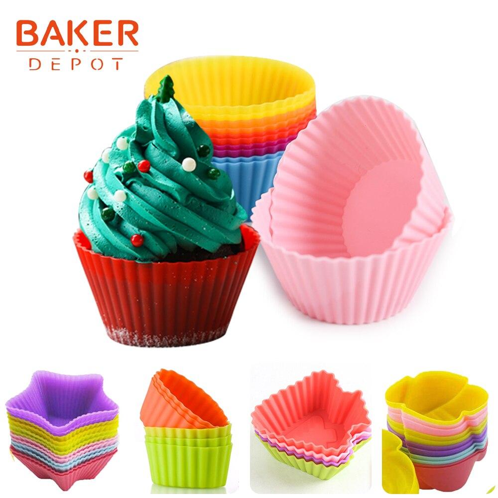 Molde para cupcake BAKER DEPOT, molde para cupcake de silicona con forma de flor, pequeño pastel, pastelería, hornear, pudín, gelatina, pan, postre, torta con forma múltiple decorada