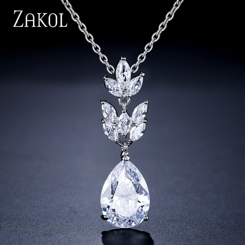 Collar ZAKOL con colgante de hoja de Zirconia cúbica y gota de agua a la moda para mujer, joyería de boda, cena, fiesta, FSNP2144