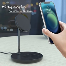 2 in 1 Magnetic Wireless Charger Stand For iPhone 12 Mini Pro Max Fast Charging Station Dock Mobile