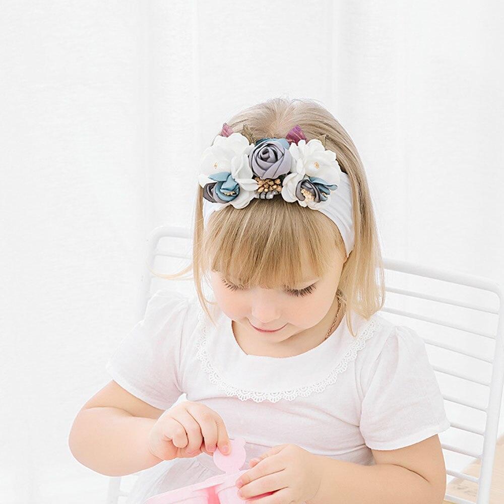 Children's Hair Band Pearl Net Yarn Head Flower Baby Headband 8-color Stretch Nylon Kids Headband