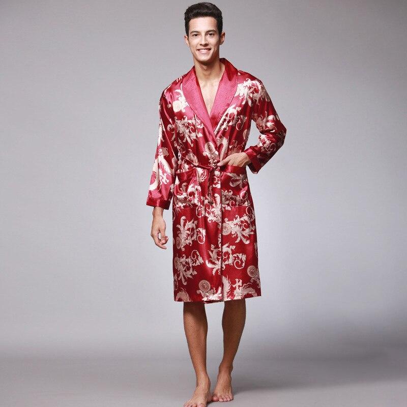 الرجال الحرير الجليد الحرير بأكمام طويلة رقيقة الاصطناعي بيجامة من الحرير فستان سهرة الحمام الفاخرة خدمة المنزل