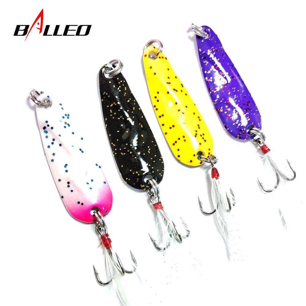 Balleo 1 pièces leurre de pêche métal Spinner cuillère 3.5g 4.5g 6.5g 9.5g dur appâts plume triple crochet matériel de pêche