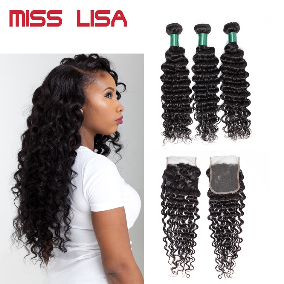 MIiss-وصلات شعر ماليزية غير ريمي ، 3 أقفال ، 4x4 إغلاق دانتيل ، شعر طبيعي 100% ، 8-30 بوصة ، تموجات عميقة