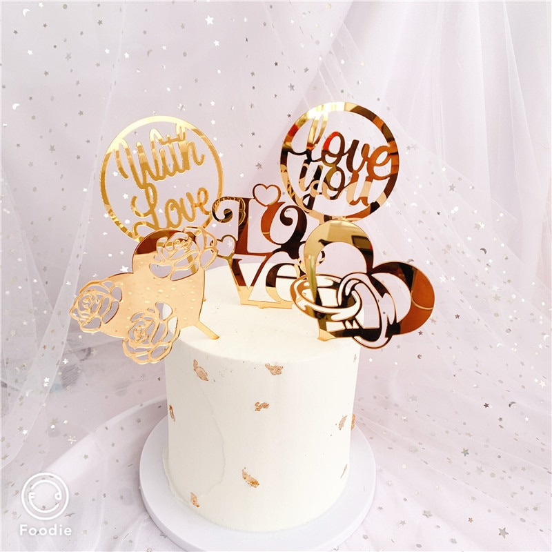 Nuevo amor corazón boda adorno acrílico para pastel oro flores rosa Cupcake Topper para boda San Valentín adornos de pastel de fiesta